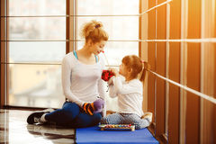 Mother and daughter playing with toys in the gym Stock Photo