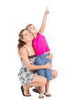 Mother daughter pointing Stock Photo