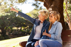 Mother and daughter pointing Stock Images