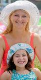 Mother and Daughter at the Poo Royalty Free Stock Image