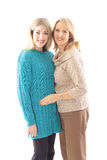 Mother daughter portrait. Isolated on a white background Royalty Free Stock Image