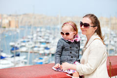 Mother and daughter portrait outdoors Stock Images
