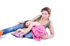 Mother and daughter  are posing Royalty Free Stock Images