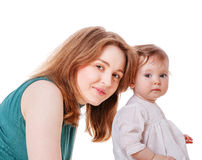 Mother with daughter. Posing together isolated on white Stock Image