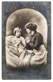 Mother daughter praying Old vintage photo portrait. Mother and daughter praying. Old vintage photo portrait royalty free stock photos