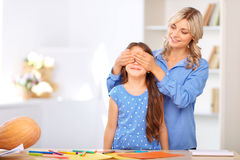 Mother and daughter preparing for Halloween Stock Photography