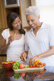 Mother And Daughter Preparing A Meal Stock Photography