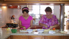 Mother daughter preparing meal together in kitchen stock video footage