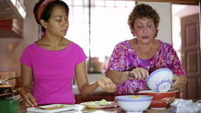 Mother daughter preparing meal together in kitchen stock footage