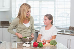 Mother and daughter preparing salad together Stock Image