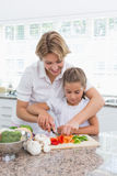 Mother and daughter preparing vegetables Stock Photography