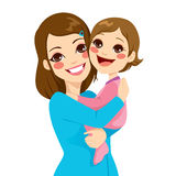 Mother and Daughter. Pretty young mother holding and hugging her cute little daughter laughing stock illustration
