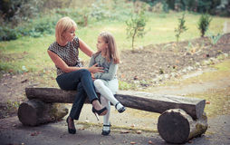 Mother with the daughter in problems Stock Image
