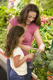 Mother and daughter in produce section. Mother and daughter in supermarket produce section Royalty Free Stock Images