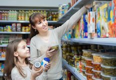 Mother and daughter purchasing food for week. At supermarket Royalty Free Stock Images