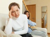 Mother and daughter after quarrel Stock Photos