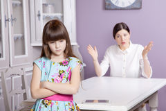 Mother and daughter quarrel because of overuse the tablet phone computer, tablet, etc.. Stock Image