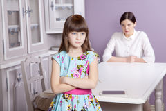 Mother and daughter quarrel because of overuse technology Royalty Free Stock Image