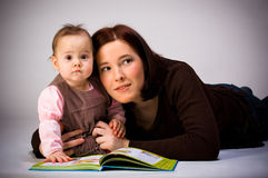 Mother and Daughter Reading. Book Stock Photography