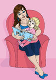Mother and daughter reading a book. Vector illustration. Brunette mother with her little blond daughter reading a fairy tale book together while sitting on a Royalty Free Stock Image