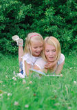 Mother and daughter reading book Stock Photography