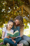 Mother and daughter reading a book at park Stock Photography