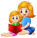 Mother and daughter reading book together on a white background stock illustration
