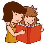 Mother and daughter reading a book Stock Photo