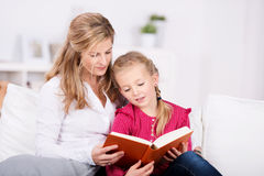 Mother And Daughter Reading Book Stock Photos