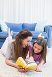 Mother and daughter reading on the floor Royalty Free Stock Photo