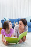 Mother and daughter reading on the floor Royalty Free Stock Photos
