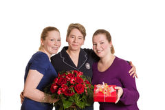 Mother daughter red roses present Stock Photography