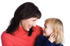 Mother and the daughter rejoice together royalty free stock photos