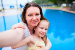 Mother and daughter at resort royalty free stock photo