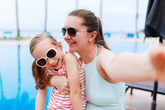 Mother and daughter at resort Stock Photos