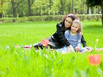 Mother with daughter resting Royalty Free Stock Images