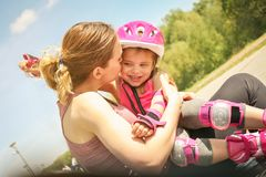 Mother and daughter enjoying together in beautiful day. stock images