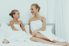 Mother With Daughter Are Resting. Spa Concept. Young Mother With Daughter Are Resting. Spa Concept. Relaxing Together. Holiday Leisure. Doing A Make Up. Time To royalty free stock image