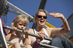 Mother and Daughter on a Ride at the Fair Royalty Free Stock Photo
