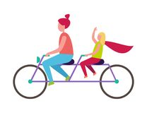 Mother and Daughter Riding Bicycle Illustration. Redhead mother and her young blonde daughter riding purple tandem bicycle isolated vector illustration on white Royalty Free Stock Images