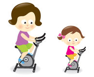 Mother and daughter riding exercise bikes. Illustration of a mother and daughter riding stationary bikes stock illustration
