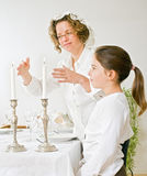 Mother and daughter sabat candels royalty free stock image