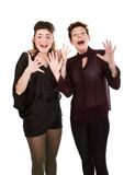 Mother and daughter screaming Stock Photo