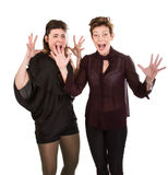 Mother and daughter screaming. Woman expression and emotion portrait Stock Image
