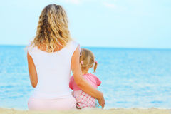 Mother and daughter on the  sea Royalty Free Stock Image