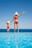 Mother with  daughter on sea resort Royalty Free Stock Images
