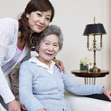 Mother and daughter. Senior asian women and her adult daughter Royalty Free Stock Photography
