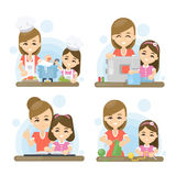 Mother and daughter set. Playing together. Reading books and cooking royalty free illustration