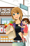 Mother and daughter shopping. A  illustration of a mother and a daughter going grocery shopping Stock Photo
