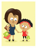 Mother and daughter shopping stock illustration